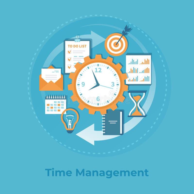 Контроль времени и планирование бизнеса, организация, работая Предпосылка данным по дела, знамя иллюстрация штока