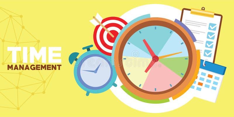 Контроль времени и план-график иллюстрация вектора