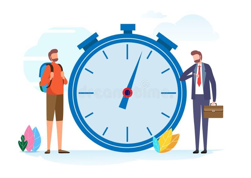 Контроль времени Концепция каникул или работы Работайте трудное, праздники время, воссоздание, перемещение, релаксация мультфильм иллюстрация вектора