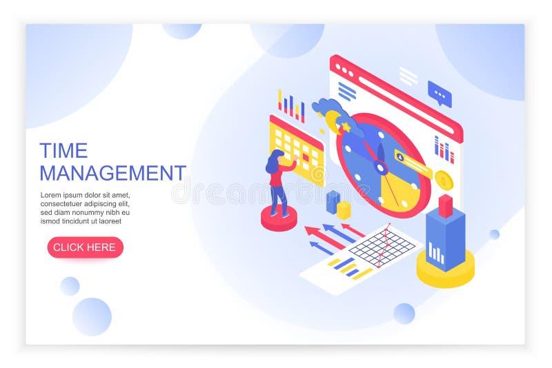 Контроль времени, организация рабочего временени и планируя концепция с шаблоном страницы вебсайта людей 3d равновеликим приземля иллюстрация штока