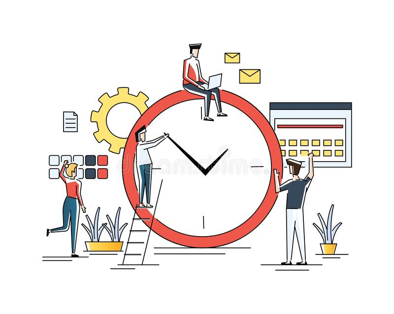 Контроль времени, распределение приоритета задач, стратегического планирования, организации рабочего временени, управления иллюстрация вектора