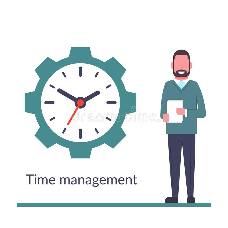 Контроль времени, управление Изолировано на предпосылке Бизнесмен ужалил около огромных часов Организация процесса Милое счастлив бесплатная иллюстрация
