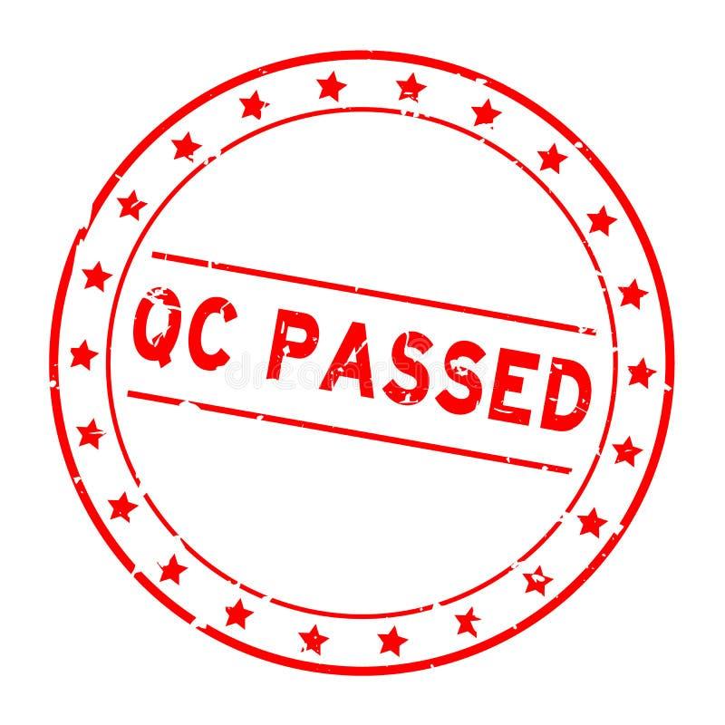Контроль качества Grunge red QC передавался словом со значком звезды круглоРбесплатная иллюстрация