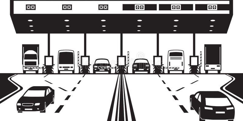 Контрольно-пропускной пункт дорожного налога на шоссе иллюстрация вектора