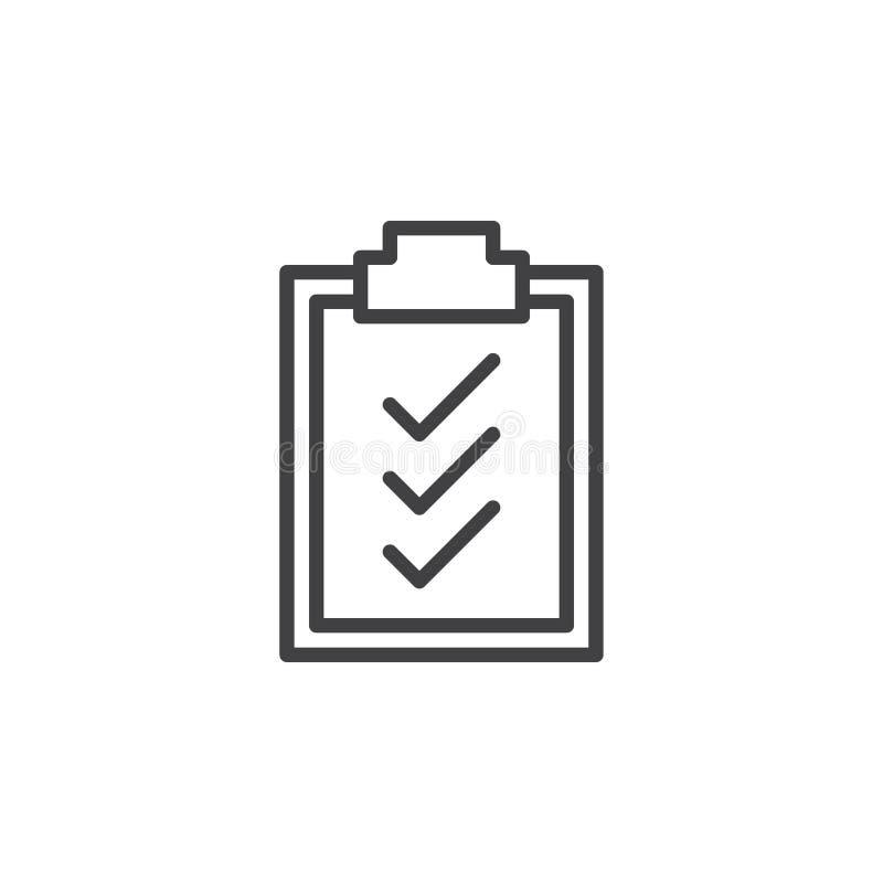 Контрольные пометки доски сзажимом для бумаги выравнивают значок, знак вектора плана, линейную пиктограмму стиля изолированную на иллюстрация вектора