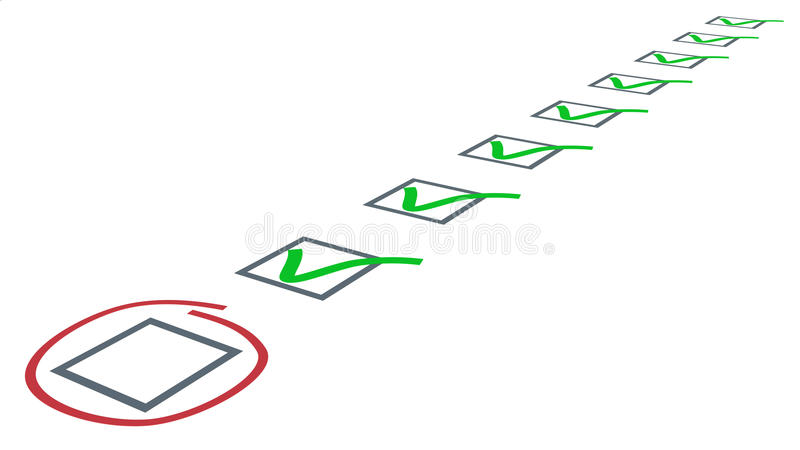 Контрольный список. Зеленый цвет тикает в флажках иллюстрация штока