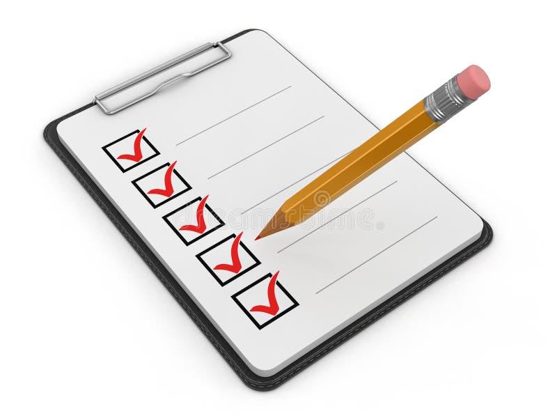 Контрольный списоок доски сзажимом для бумаги бесплатная иллюстрация