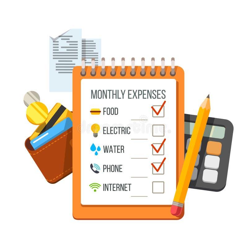 Контрольный списоок расходов, получения, бумажник, калькулятор иллюстрация штока