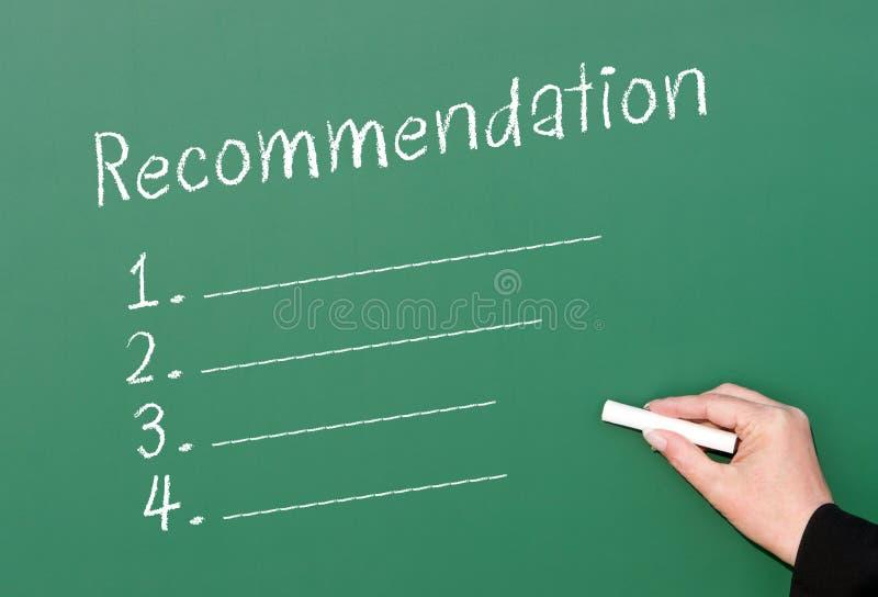 Контрольный списоок рекомендации доски стоковое изображение rf