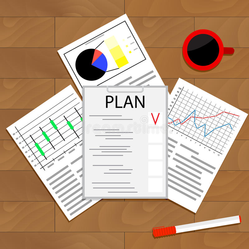 Контрольный списоок экономического планирования иллюстрация штока