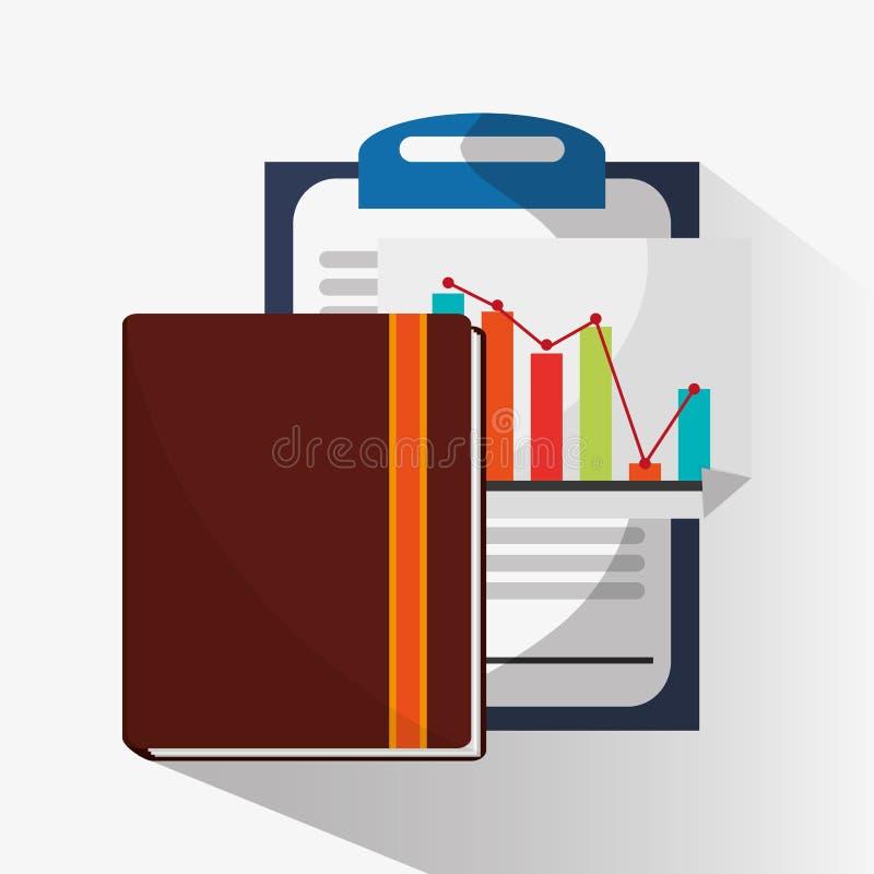 Контрольный списоок infographic и дизайн тетради иллюстрация вектора
