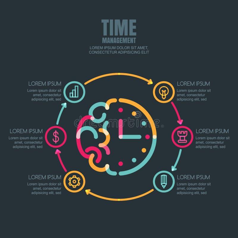 Контроль времени и планирование, дизайн infographics дела иллюстрация штока