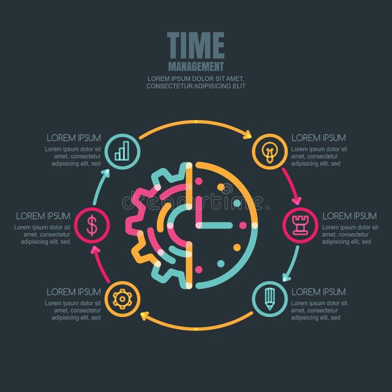 Контроль времени и планирование, шаблон дизайна infographics дела бесплатная иллюстрация