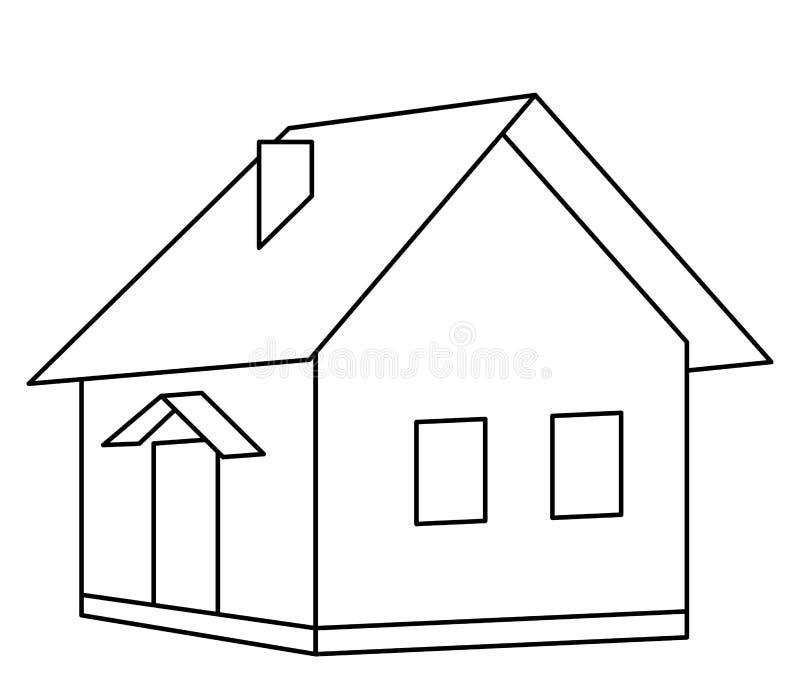 контурит деревенский дом иллюстрация штока