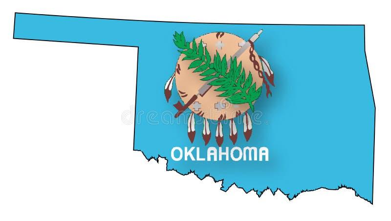 Контурная карта и флаг Оклахомы иллюстрация вектора