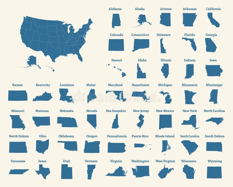 Контурная карта Соединенных Штатов Америки 50 положений США бесплатная иллюстрация