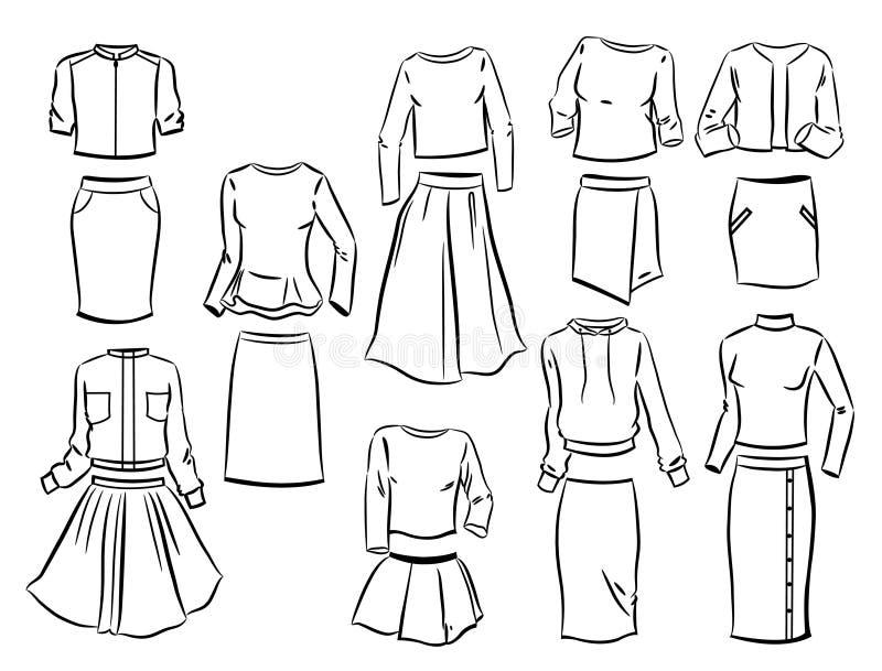 Контуры костюмов ` s женщин бесплатная иллюстрация