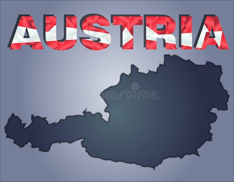 Контуры территории слова Австрии и Австрии в цветах национального флага бесплатная иллюстрация