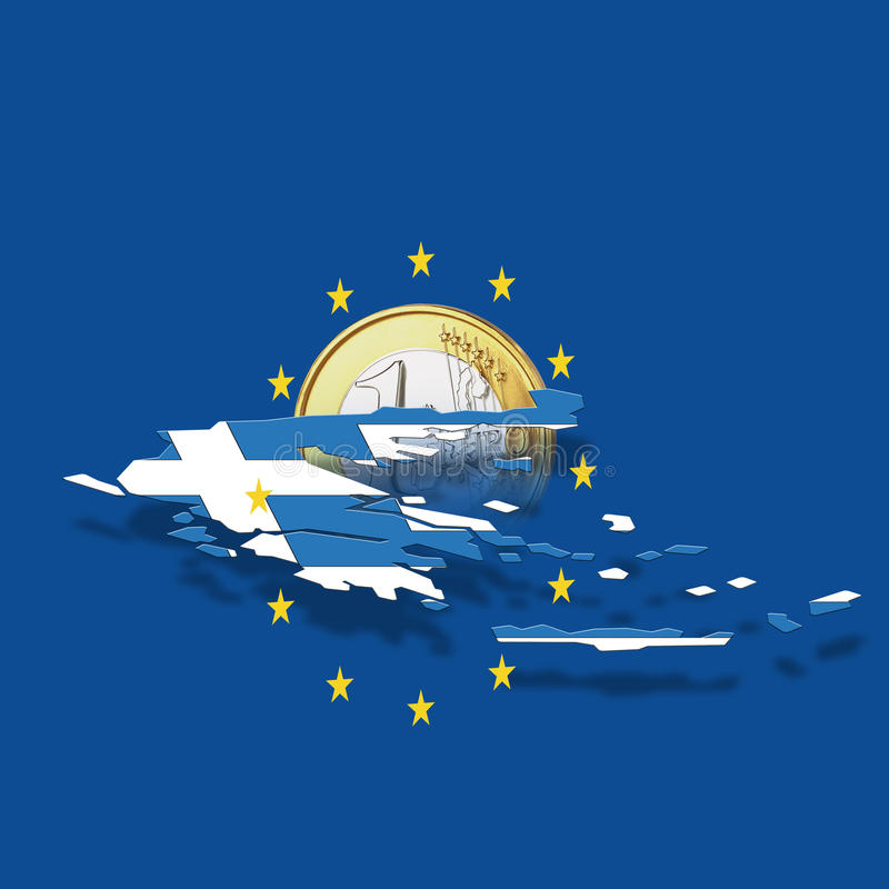 Контур Греции с звездами Европейского союза и евро чеканят против голубой предпосылки, цифровой смеси бесплатная иллюстрация