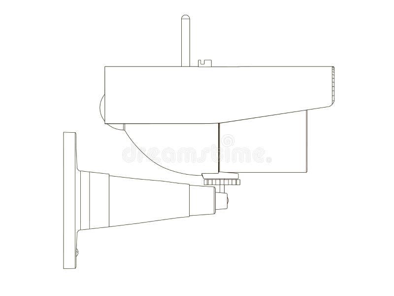 Контур камеры слежения Значок CCTV от черных линий на белой предпосылке Взгляд со стороны r иллюстрация вектора
