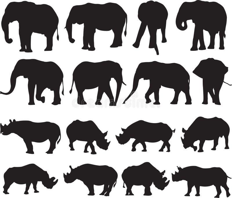 Контур силуэта африканского слона и черного носорога бесплатная иллюстрация