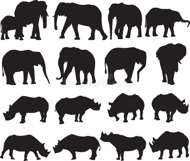 Контур силуэта африканского слона и черного носорога иллюстрация штока