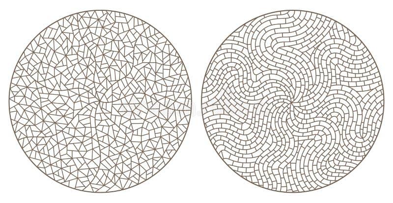 Контур установил с абстрактными предпосылками контурит цветное стекло, имитацию точно сломленного стекла, круга отображает иллюстрация вектора