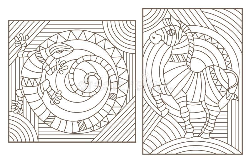 Контур установил с иллюстрациями с абстрактными животными, зеброй и ящерицей, темными планами на светлой предпосылке бесплатная иллюстрация