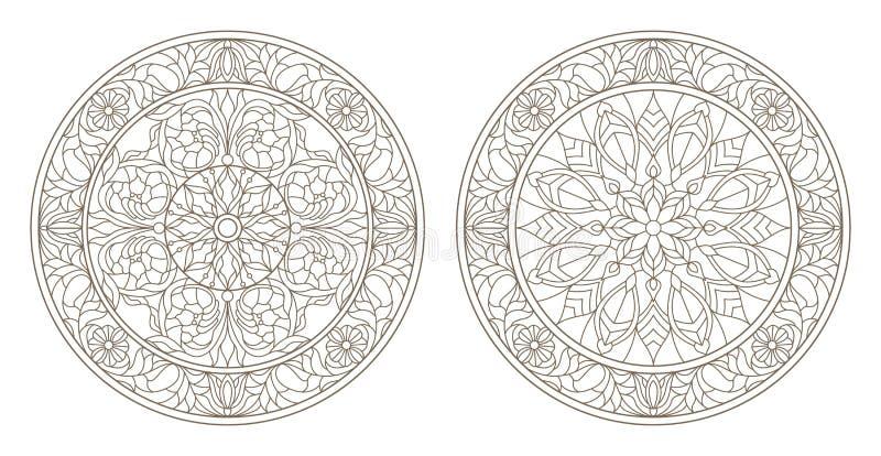 Контур установил с иллюстрациями цветного стекла, круглого цветного стекла флористического, темного плана на белой предпосылке бесплатная иллюстрация
