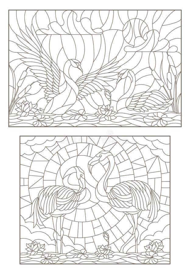 Контур установил с иллюстрациями цветного стекла с птицами на пруде пары лебедей и пара фламинго бесплатная иллюстрация