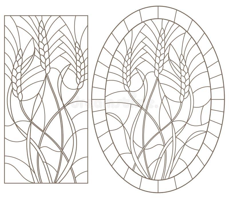 Контур установил с иллюстрациями цветного стекла с семенозачатком пшеницы, овала и прямоугольного изображения, темных контуров на иллюстрация штока