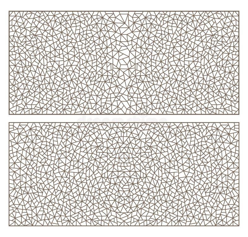 Контур установил с цветным стеклом абстрактного контура предпосылок, имитацией точно сломанного стекла иллюстрация штока