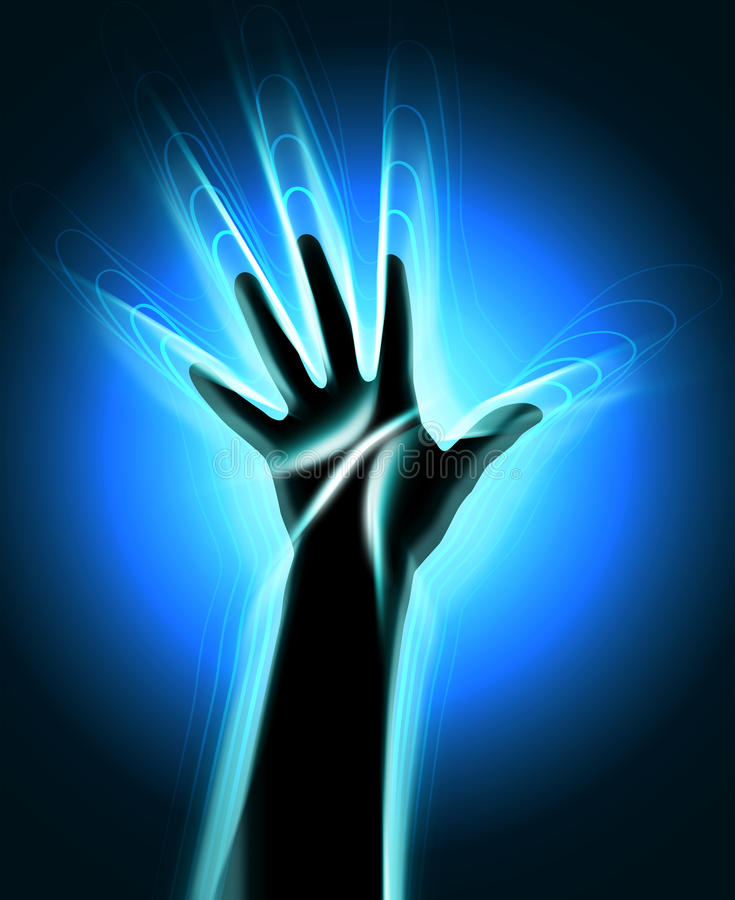 Контур человеческой руки с накалять развевает выходящ он бесплатная иллюстрация