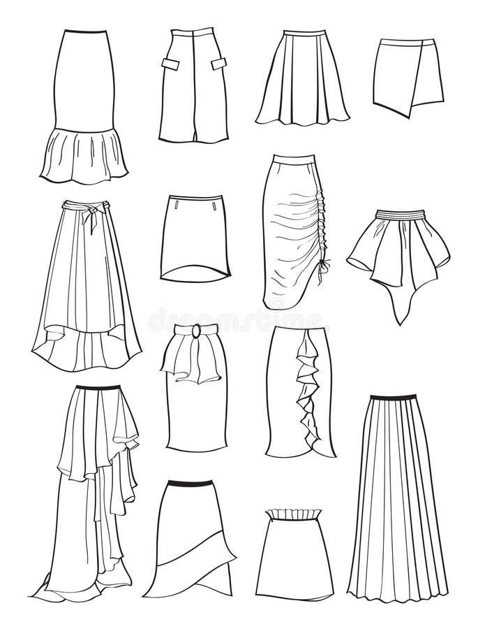 Контур юбок с асимметрией и створками иллюстрация штока