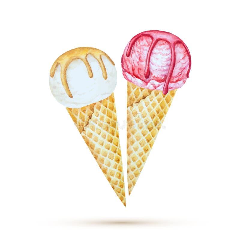 конусы шоколада предпосылки cream мороженое льда над белизной ванили клубники фисташки бесплатная иллюстрация