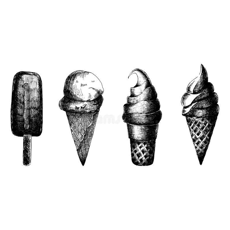 конусы шоколада предпосылки cream мороженое льда над белизной ванили клубники фисташки также вектор иллюстрации притяжки corel Из иллюстрация вектора