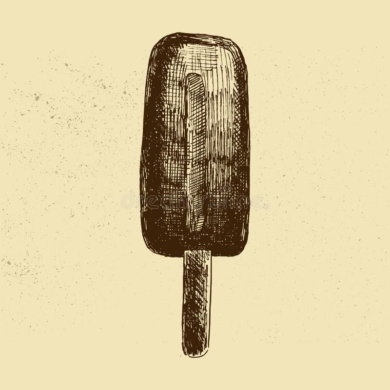 конусы шоколада предпосылки cream мороженое льда над белизной ванили клубники фисташки также вектор иллюстрации притяжки corel Ви иллюстрация вектора