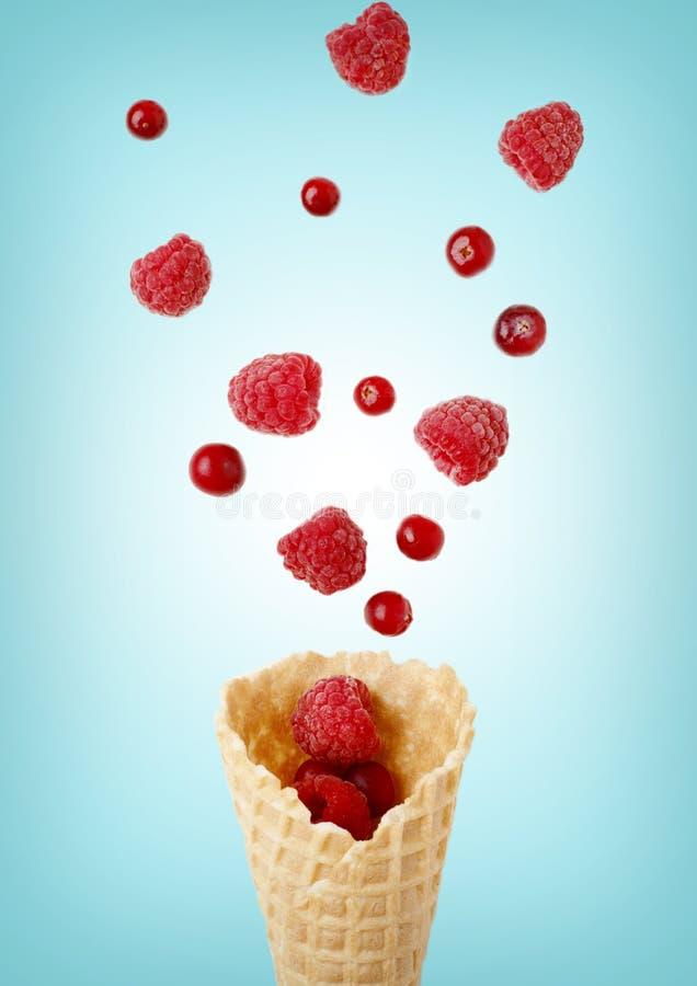 Конус мороженого заполненный с поленикой и клюквами иллюстрация штока