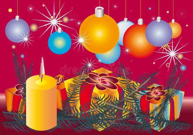 конус l орнамент рождества свечки ветвей иллюстрация штока