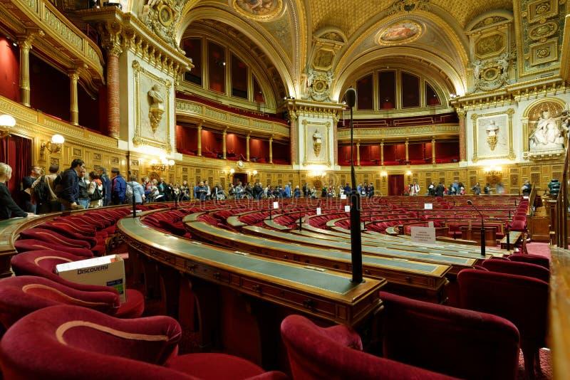 Конференц-зал в дворце Люксембурга, Париж, Франция стоковое фото rf