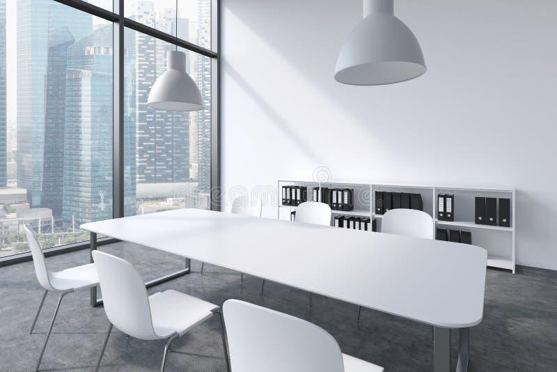 Конференц-зал в современном панорамном офисе с взглядом Сингапура Белая таблица, белые стулья, bookcase и li потолка 2 белизн иллюстрация вектора