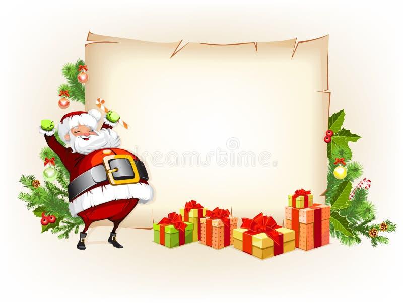 Конфета и перечень удерживания Santa Claus для подарков иллюстрация вектора