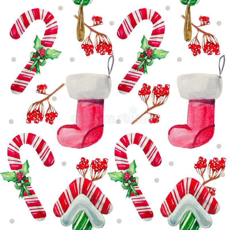 Конфета леденца на палочке картины рождества безшовная иллюстрация вектора