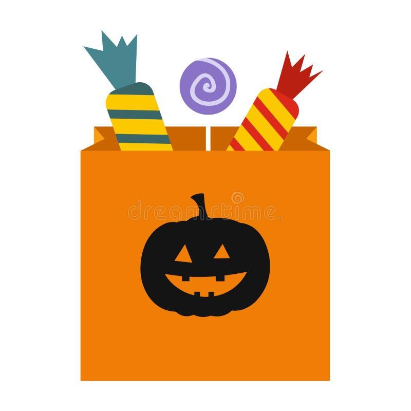 Конфета пакета на значке хеллоуина иллюстрация штока