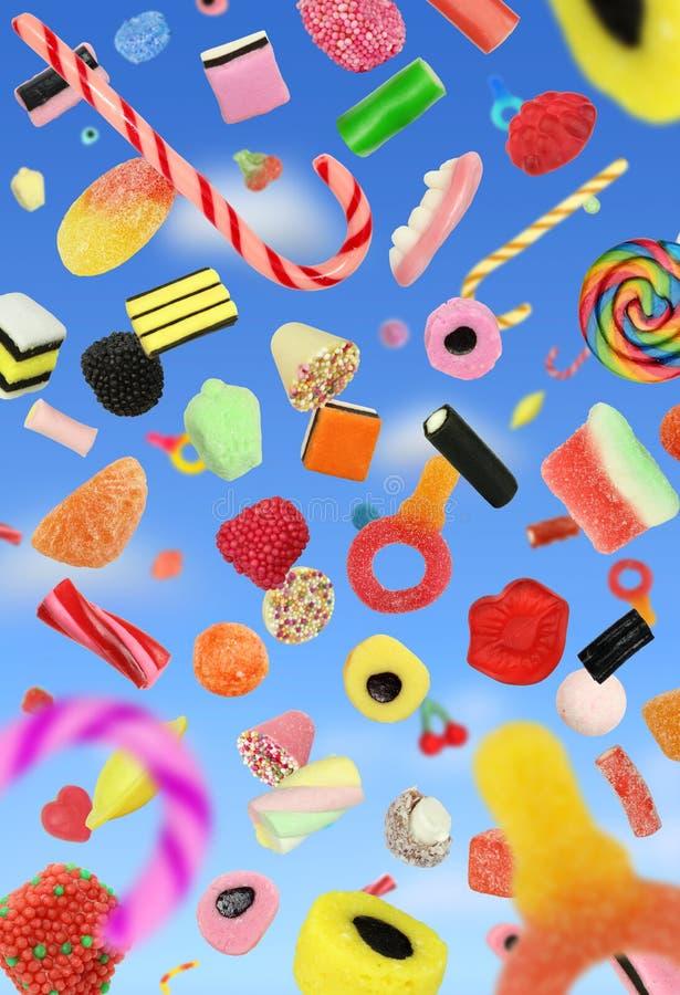 телефон, анимация конфеты сыпятся людей
