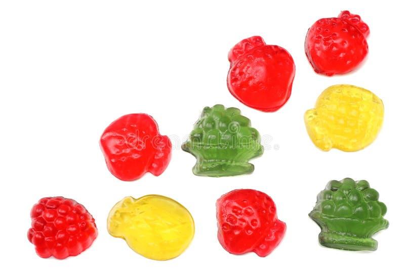 конфеты студня мармелада изолированные на белом взгляд сверху предпосылки стоковая фотография rf