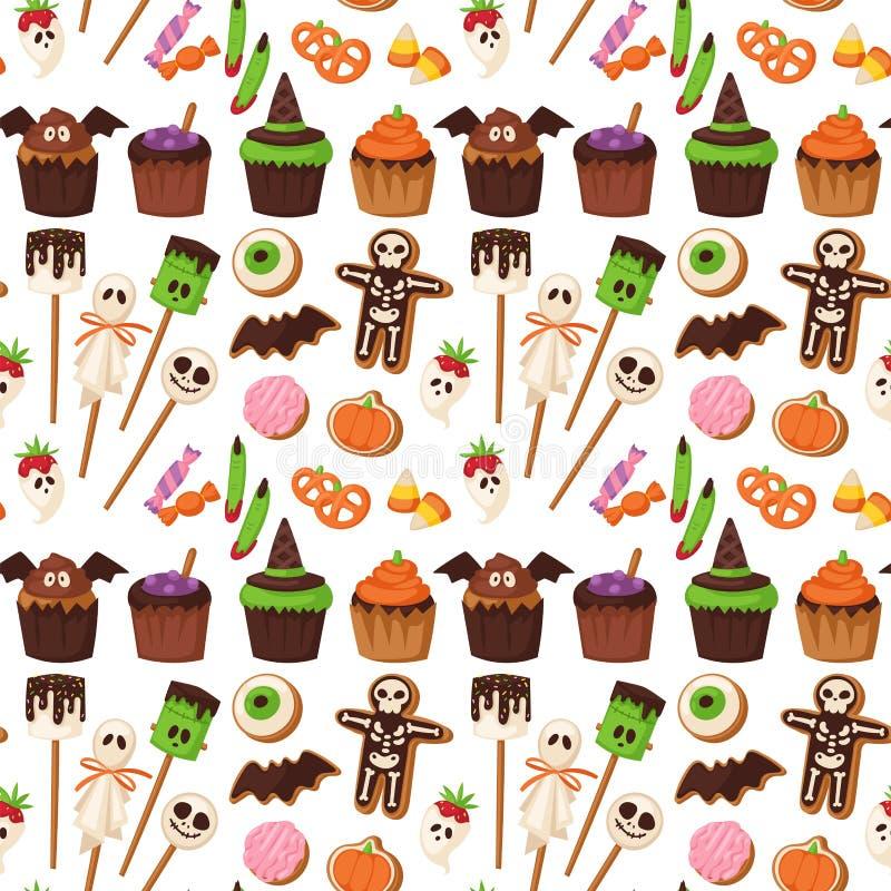 Конфеты фокуса или обслуживания партии торта ночи еды предпосылки картины печенья хеллоуина безшовные vector иллюстрация иллюстрация штока