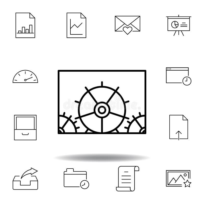 конфигурация регулировки зацепляет значок плана Детальный набор значков иллюстраций мультимедиа unigrid Смогите быть использовано иллюстрация вектора