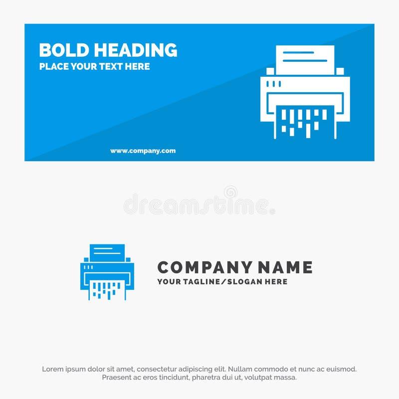 Конфиденциальность, Данные, Удаление, Документ, Файл, Информация, Баннер веб-сайта и шаблон бизнес-эмблемы значка Shredder SOlid иллюстрация штока