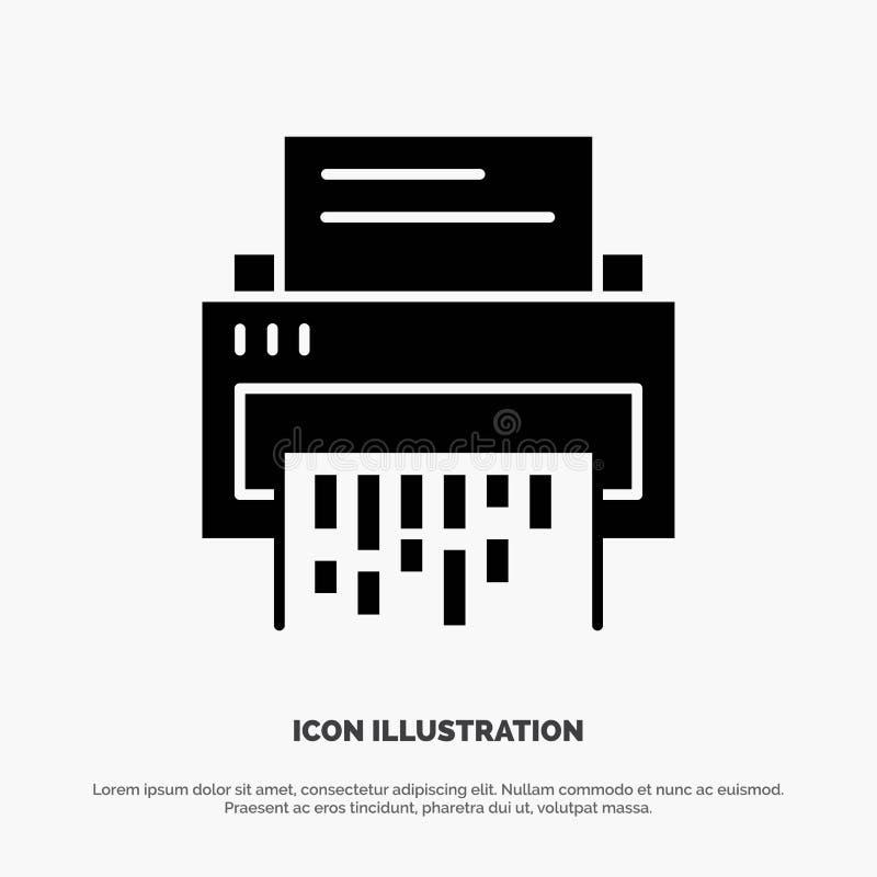 Конфиденциальный, данные, удаление, документ, файл, информация, вектор значка глифа шредера твердый иллюстрация вектора
